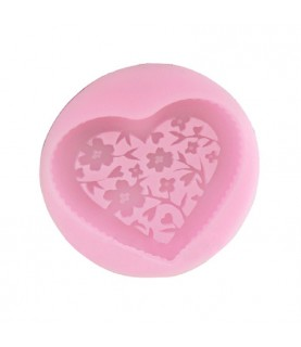 Molde de silicona adorno Corazón de flores