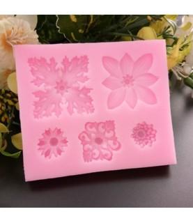 Molde de silicona 5 flores