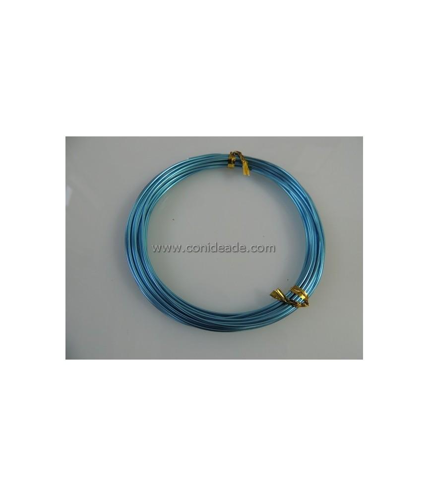 Rollo 6 metros alambre de aluminio 1.5mm azul turquesa