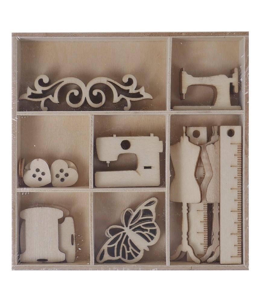 Surtido de adornos de madera modelo costura
