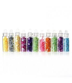 Comprar Pack12 mini tarros de lentejuelas de colores de Conideade