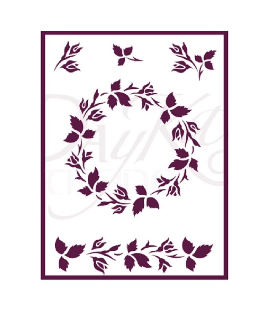 Plantilla stencil DIN-A5 corona flores