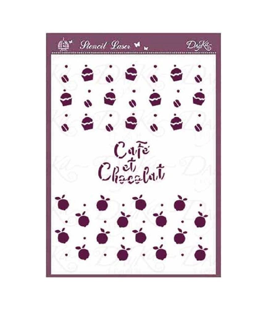 Plantilla stencil DIN-A5 café y chocolat