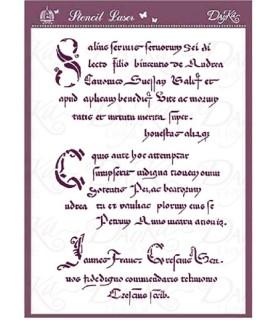 Comprar plantilla stencil acetato texto antiguo A4 de Conideade