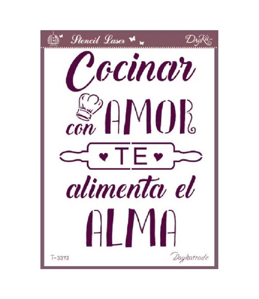 plantilla stencil Cocinar con amor A4