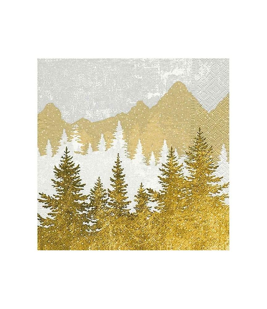 Servilleta bosque dorado y plata