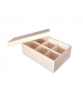 Caja madera 6 div tapa ondulada