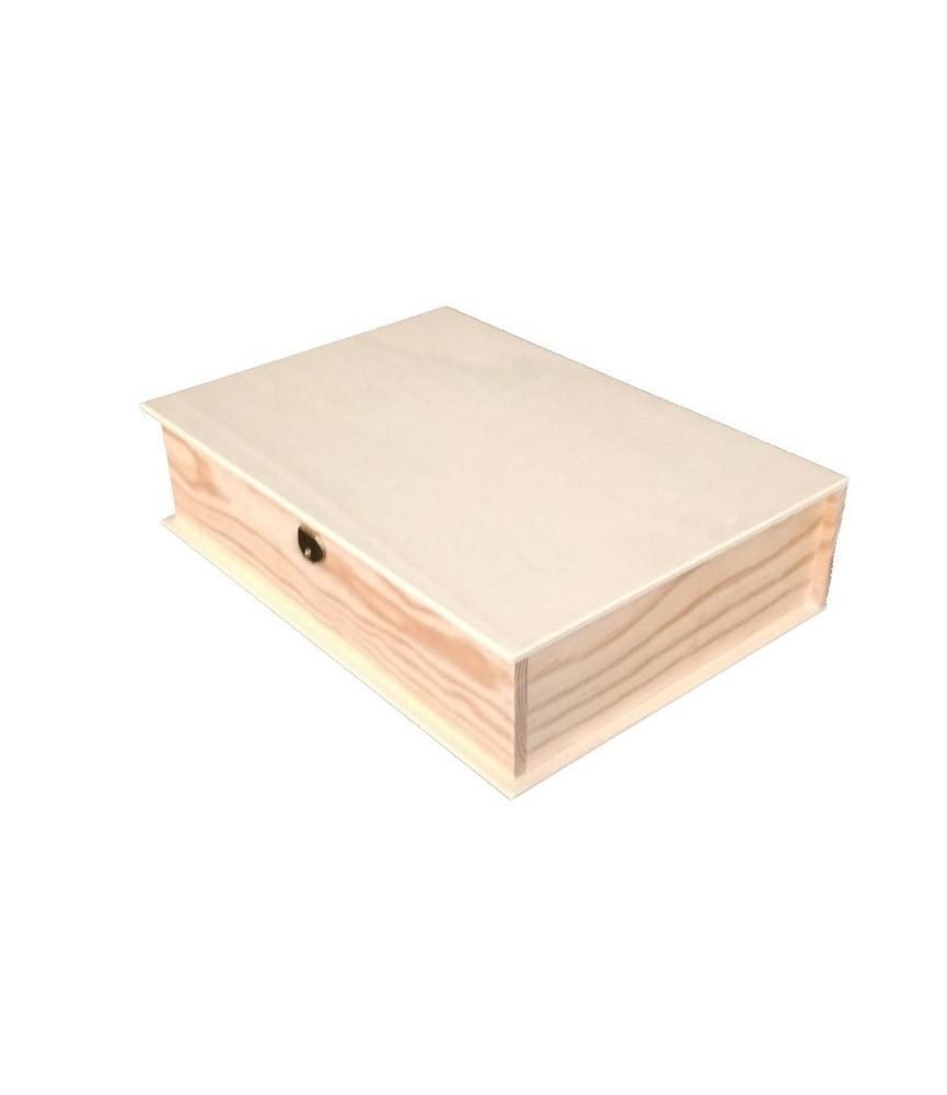Caja madera libro grande 34x24cm