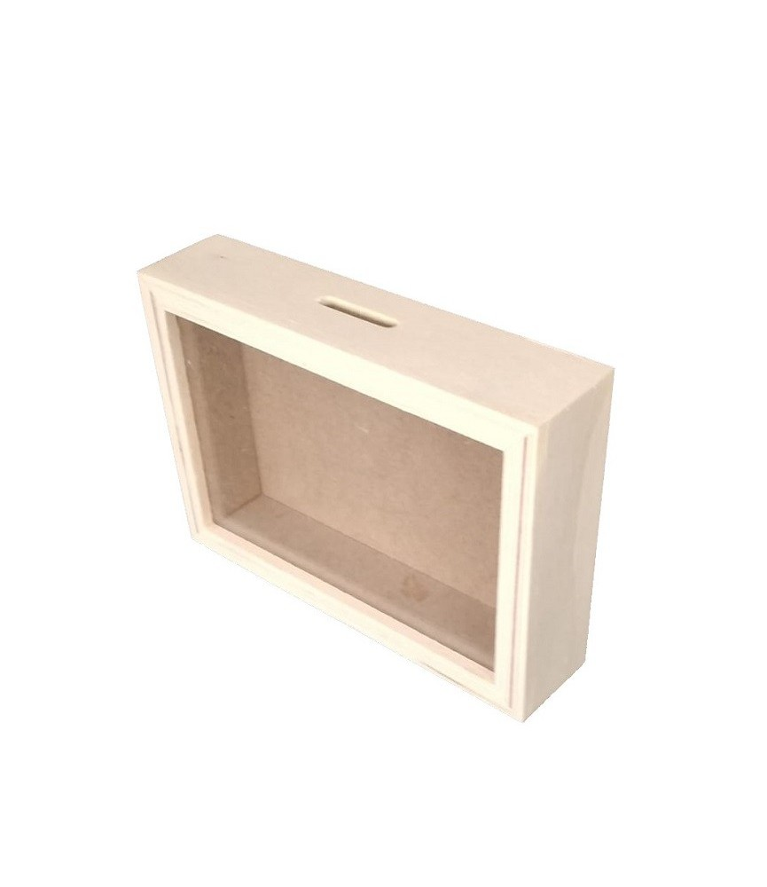 Hucha de madera con cristal 17x12cm