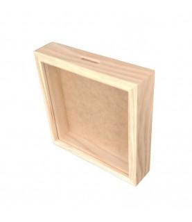 Hucha de madera con cristal 17x17cm
