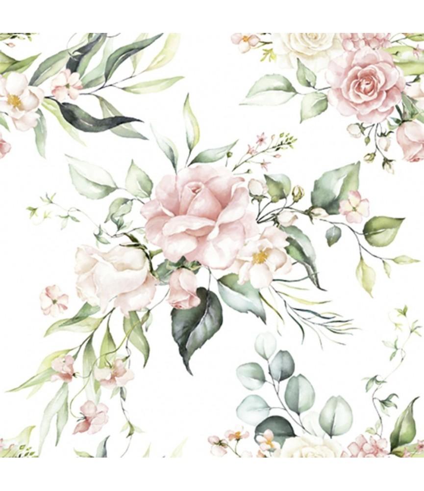 Servilleta flores tonos pastel