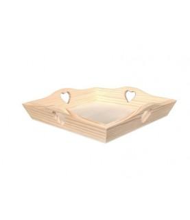 Comprar Bandeja de madera corazones 24 cm x 24 cm