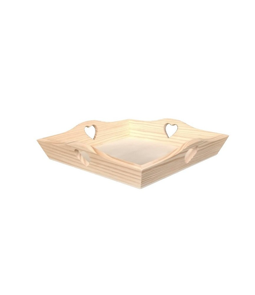 Bandeja de madera corazones 24 cm x 24 cm