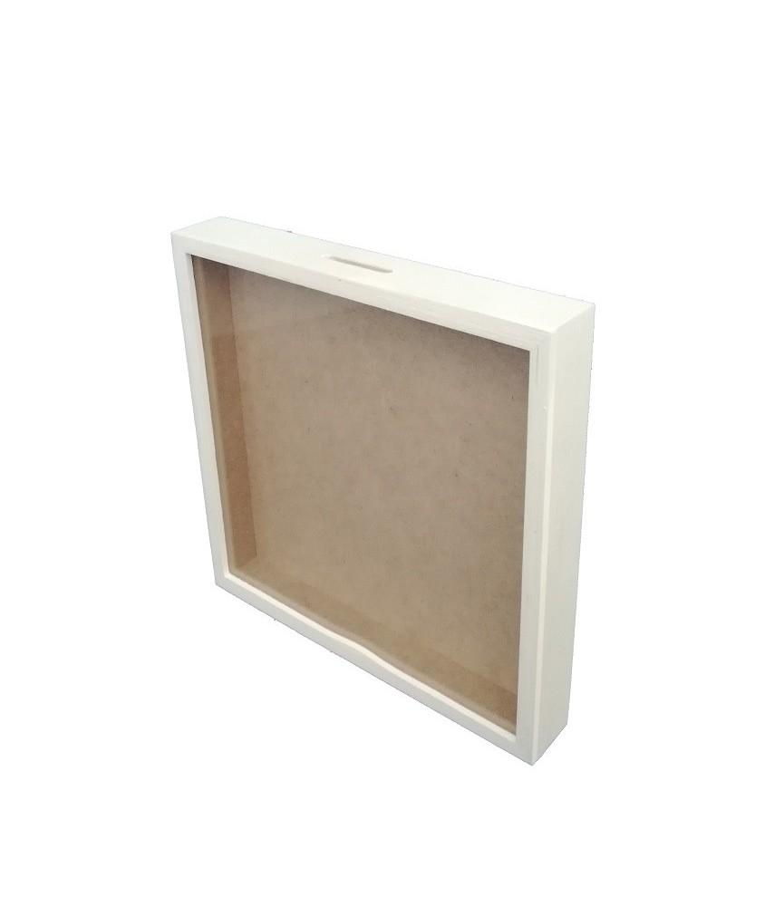 Hucha de madera con cristal 25x25cm