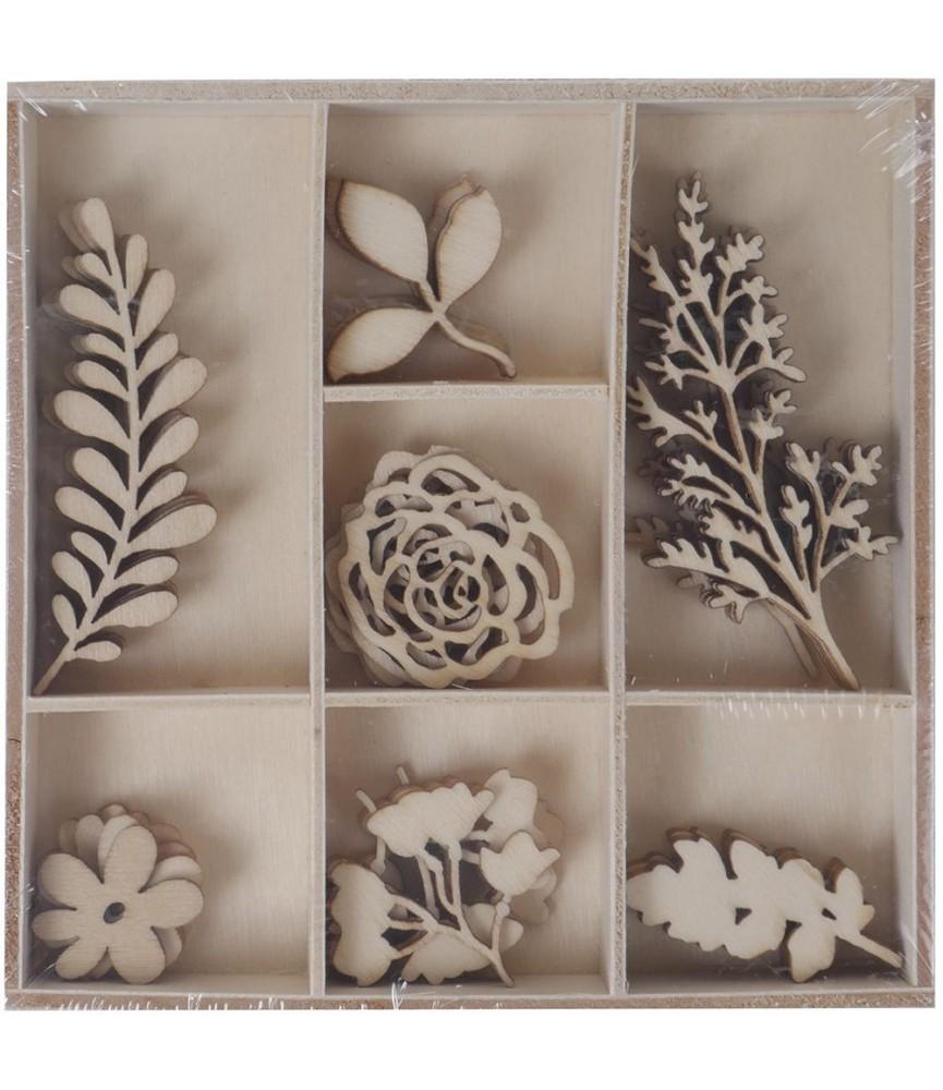 Surtido de adornos de madera Floral