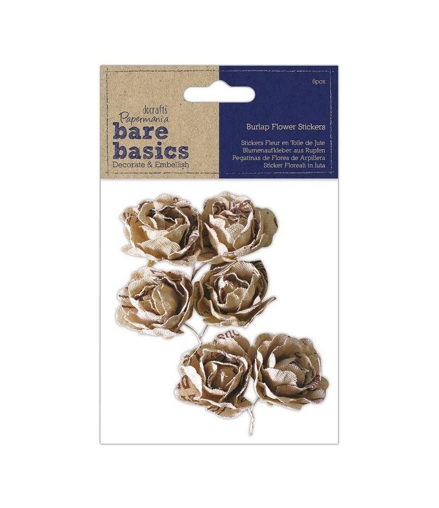 Pack 6 flores de tela de yute adhesivas