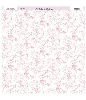 Papel Vellum impreso con flores y aves