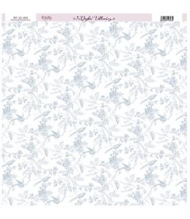 Papel Vellum impreso con flores y aves azul
