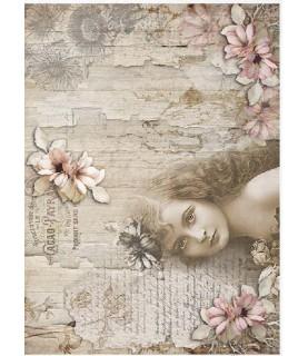 Papel de Arroz en A4 mujer con flor