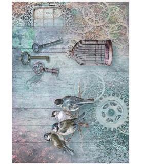 Papel de Arroz en A4 jaula y pajaritos
