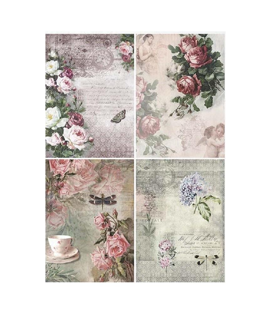 Papel de Arroz en A4 4 marcos flores