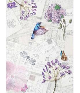 Papel de Arroz en A4 4 postales tonos lilas