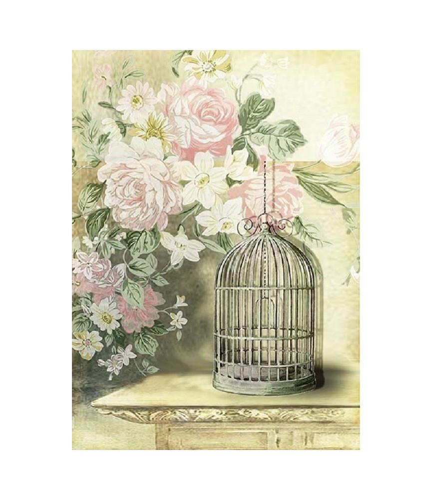 Papel de Arroz en A4 jaulas y flores