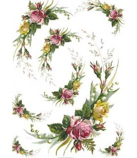 Comprar Papel de Arroz en A4 medio aro de flores de Conideade