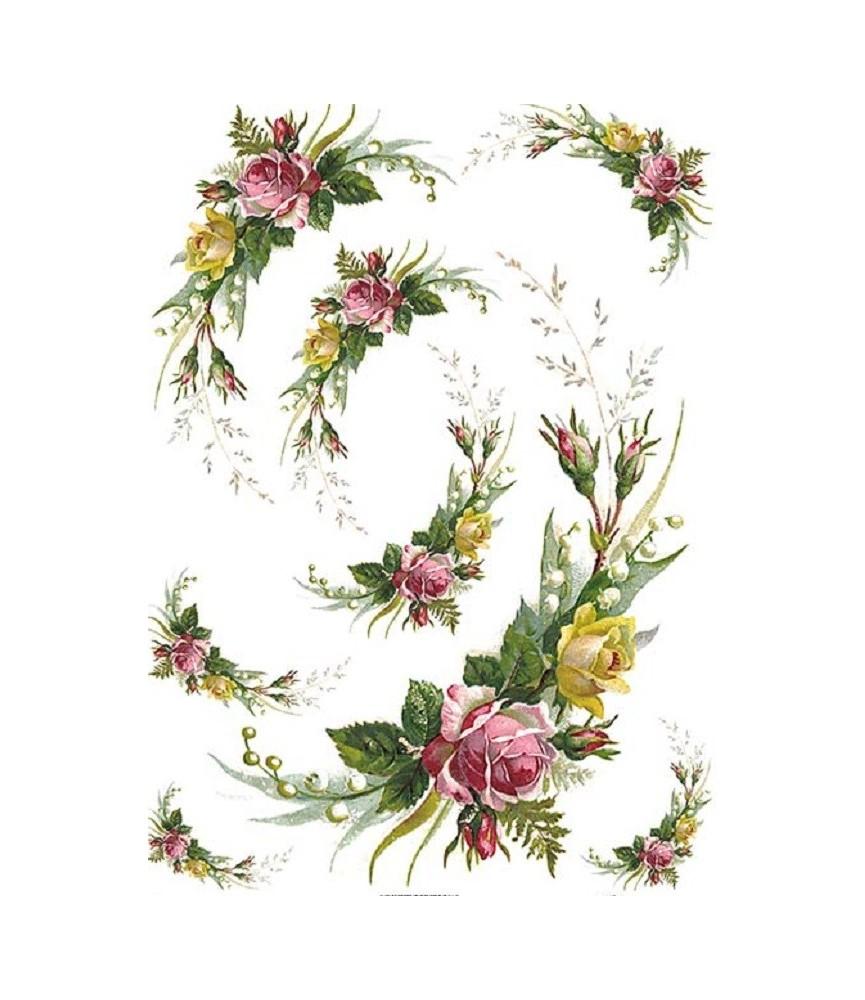 Papel de Arroz en A4 medio aro de flores