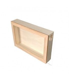 Caja de madera con cristal para corchos