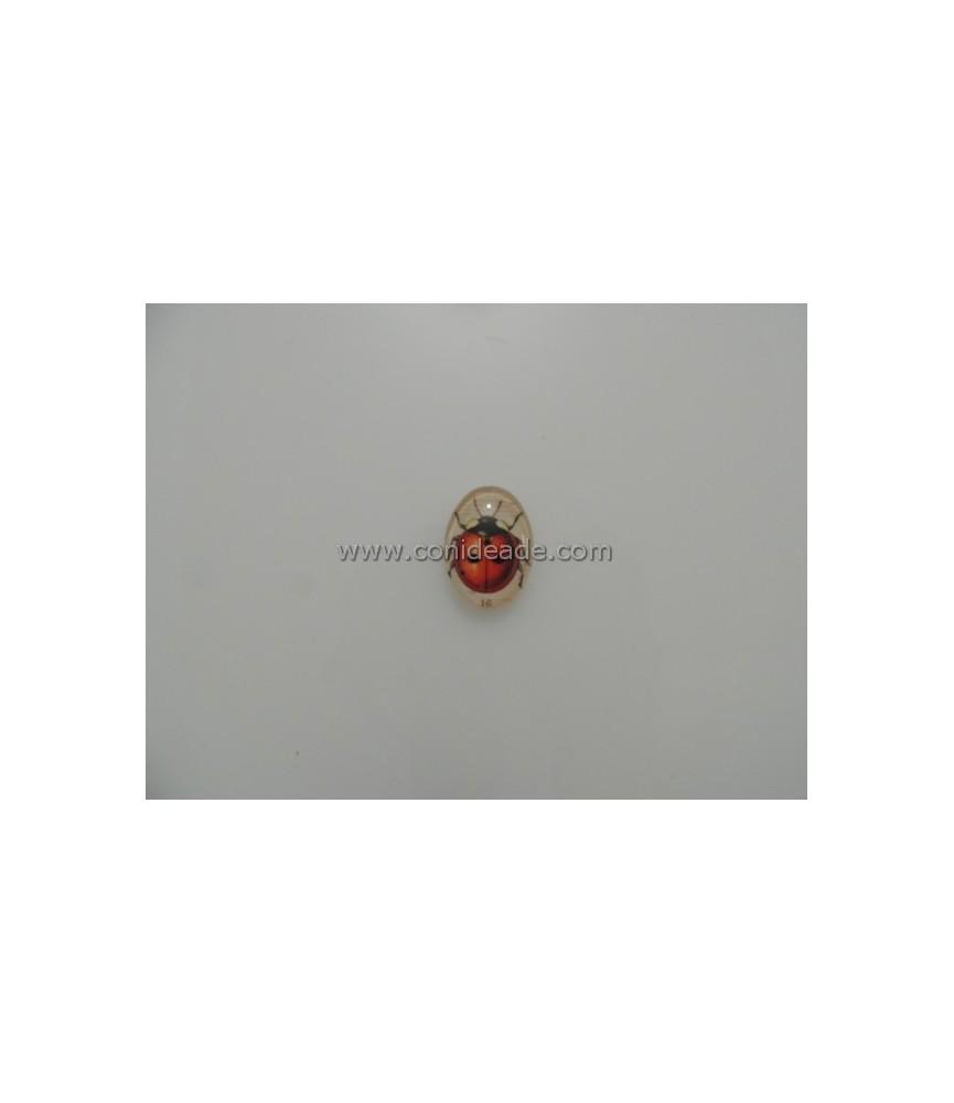 Cabuchon cristal mariquita 18x25mm
