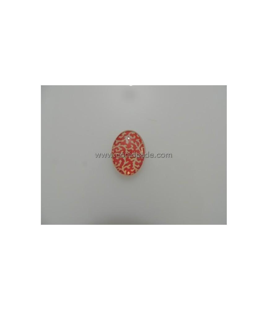 Cabuchon cristal estampado rojo 18x25mm