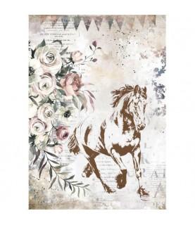 Imagén: Papel de arroz caballo estilo romático A4