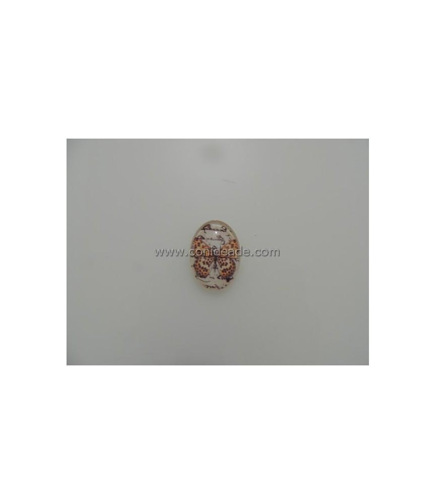 Cabuchon cristal mariposa marron 18x13mm