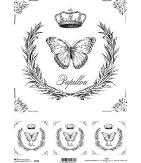 Comprar Papel de Arroz en A4 Mariposa blanco y negro de Conideade