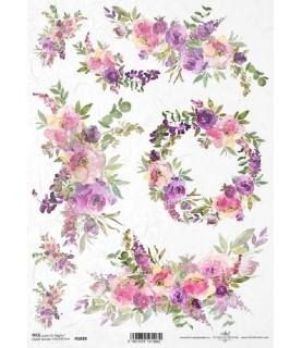 Comprar Papel de Arroz en A4 Flores tonos morados de Conideade