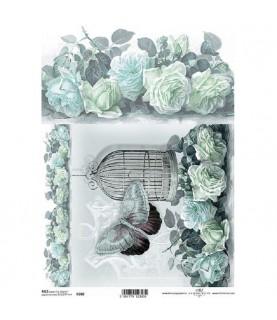 Comprar Papel de Arroz en A4 Jaula con rosas blancas de Conideade
