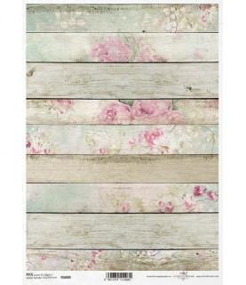 Comprar Papel de Arroz en A4 tabla de madera con estampado floral de Conideade