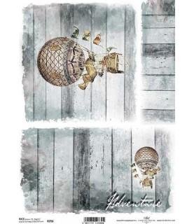 Comprar Papel de Arroz en A4 tabla de madera con globo de Conideade