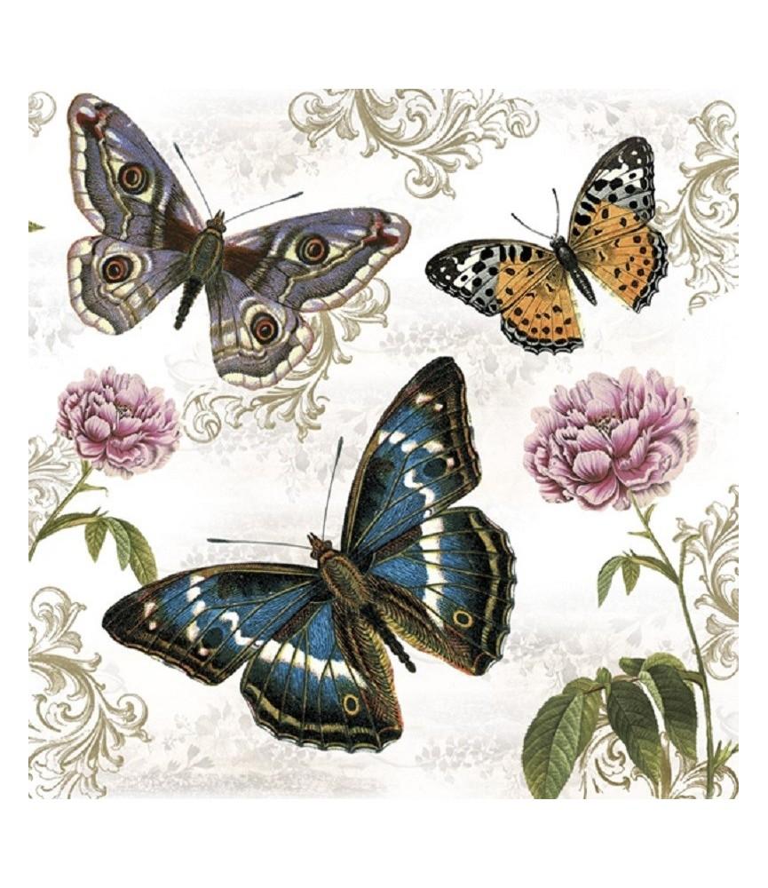Servilleta decorativa mariposas retro