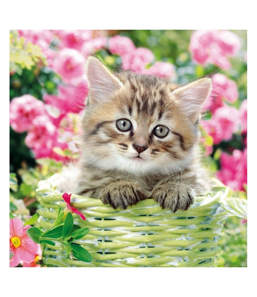 Servilleta decorativa gatito en la cesta