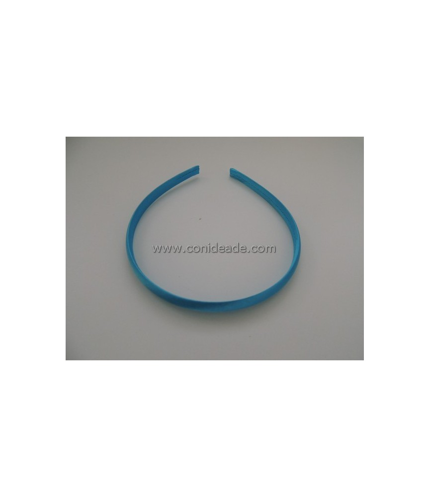 Diademas forradas 10 mm en raso turquesa