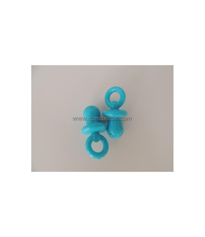 Colgante de plástico chupete azul turquesa