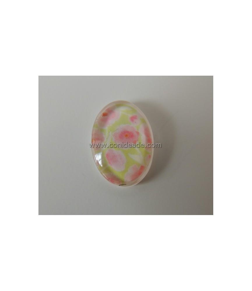 Cabuchon flores rosas y verdes 18x13mm