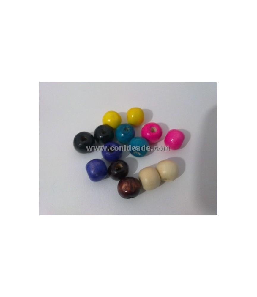Pack de 14 cuentas de madera de colores