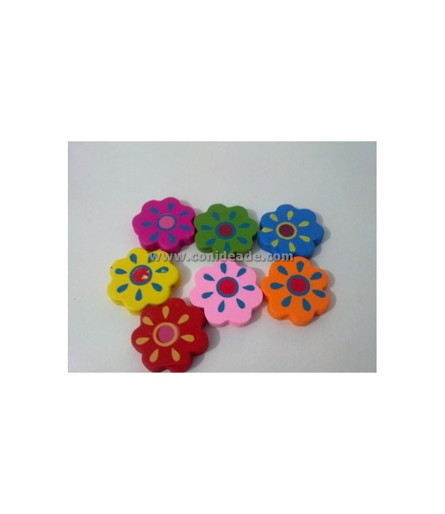 Cuentas de flores de madera multicolor 20x20mm