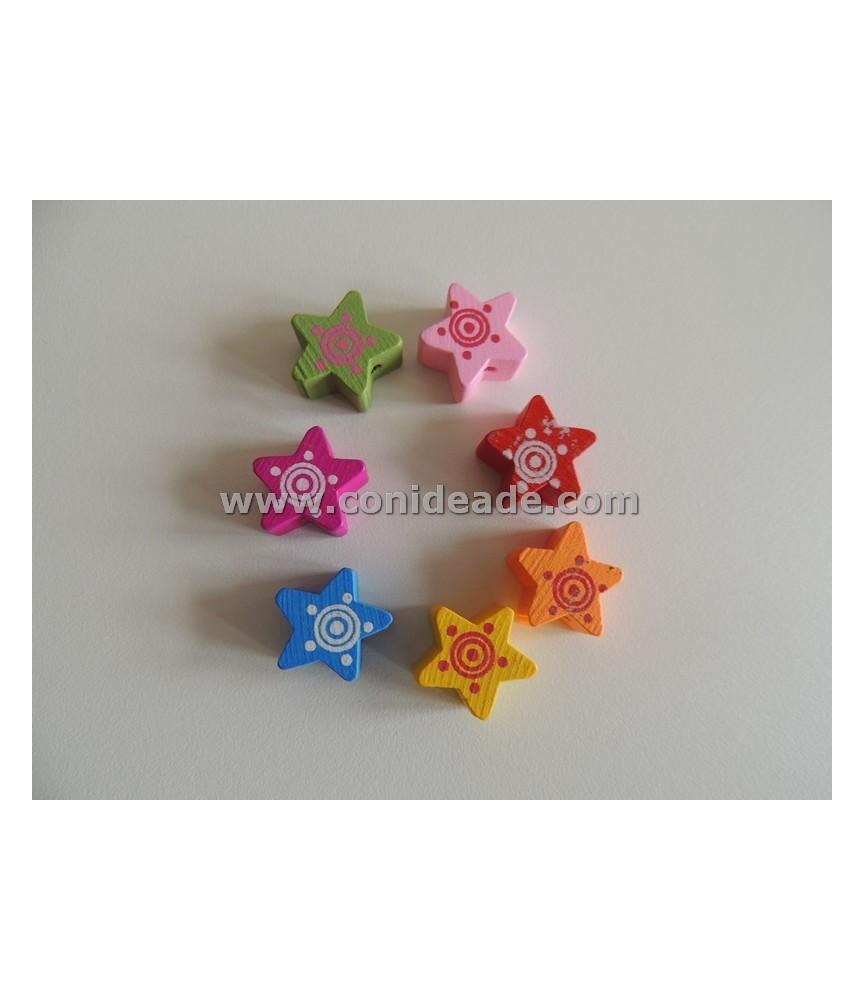 Cuentas de madera forma de estrella 15x15 mm