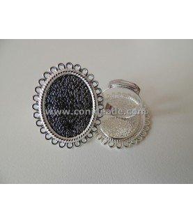 Comprar Anillo ajustable base camafeo circulos 25x18 plateado