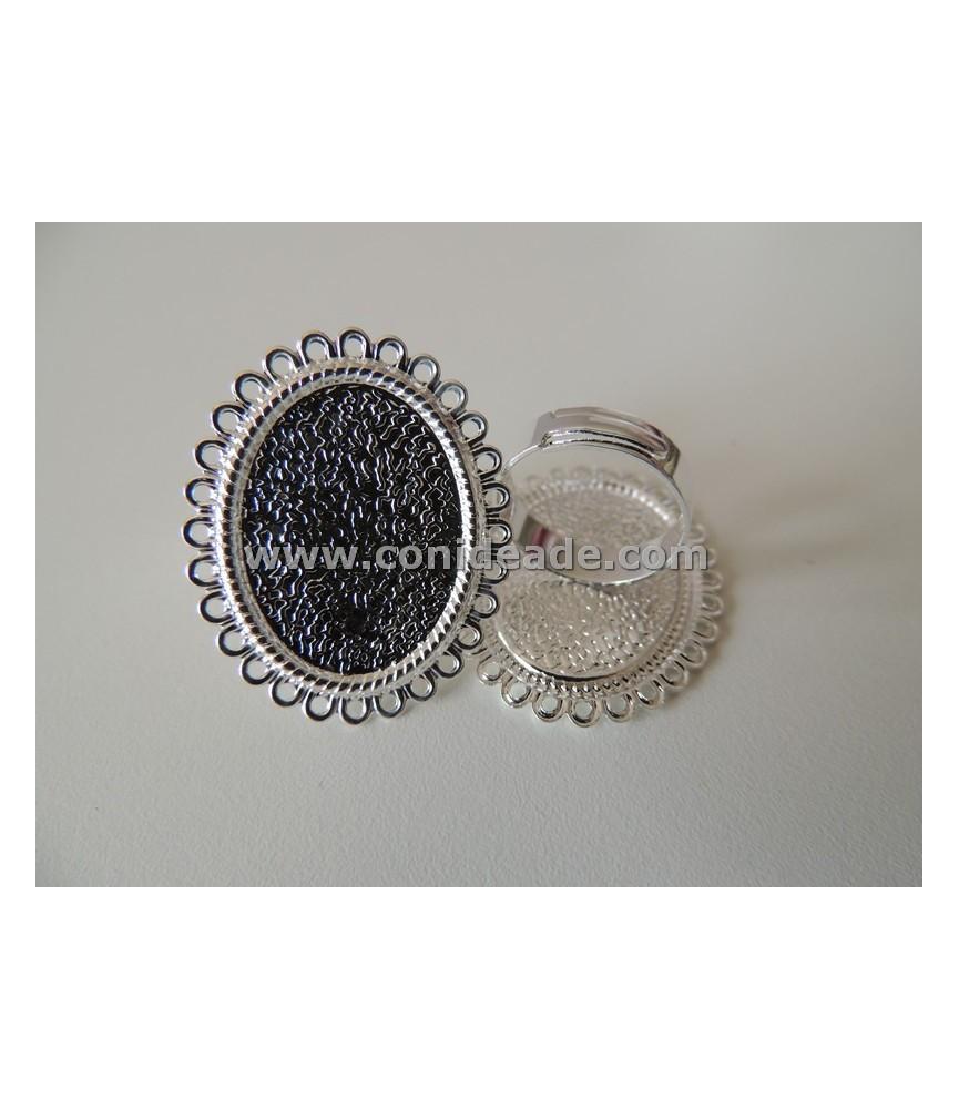 Anillo ajustable base camafeo circulos 25x18 plateado