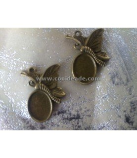 Base de camafeo mariposa bronce